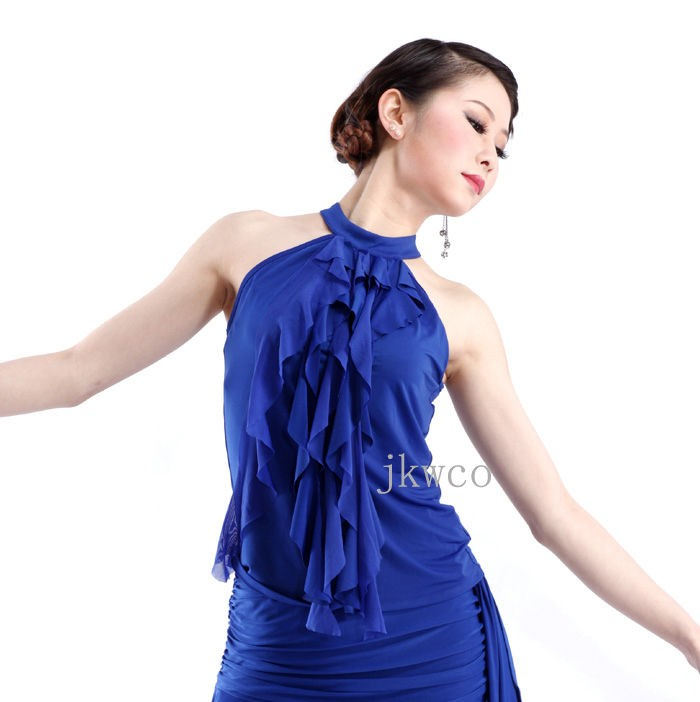 woman latin dance dress blouse top salsa ruffle off shoulder dance t