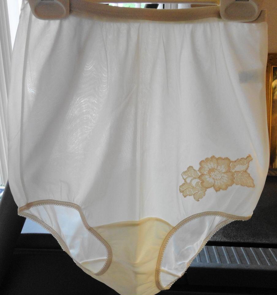 349097d7e20 Vintage VANITY FAIR Panties NYLON Tricot Beige Lace Size 4 Sheer