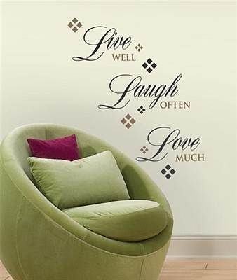 LAUGH LOVE Words Wall Stickers Quote Vinyl Applique Decals Room Decor