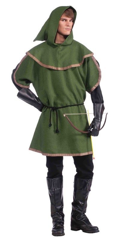 new mens robin hood archer tunic costume sherwood forest green hooded