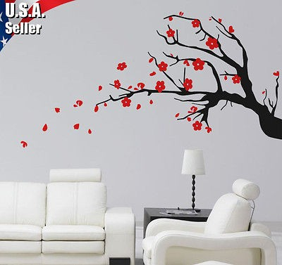 Cherry Blossom Tree Branch Wall Art Decor Vinyl Removable Decal
