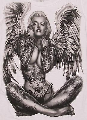 shirt Pierced Tattoo Angel Wings Tee Womens Jr Juniors S,M,L,XL
