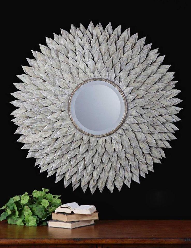Luxury Extra Large Silver Sunburst Wall Mirror XL Oversize Neiman