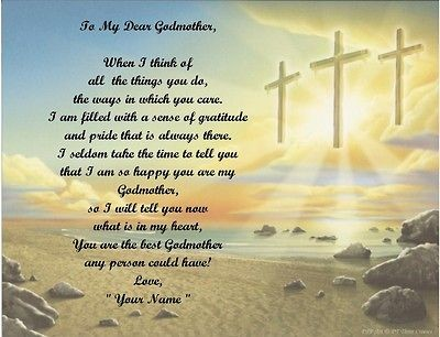 Gift/ Birthday Gift For Godmother Personalized Poem Gift 3 Crosses