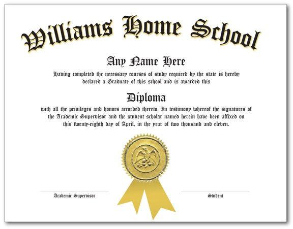 Custom Home School Diploma Certificate Homeschool Schooling High