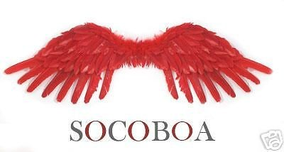 Red Feather Angel Wings Adult Fairy Photo Props Fire Halloween Costume