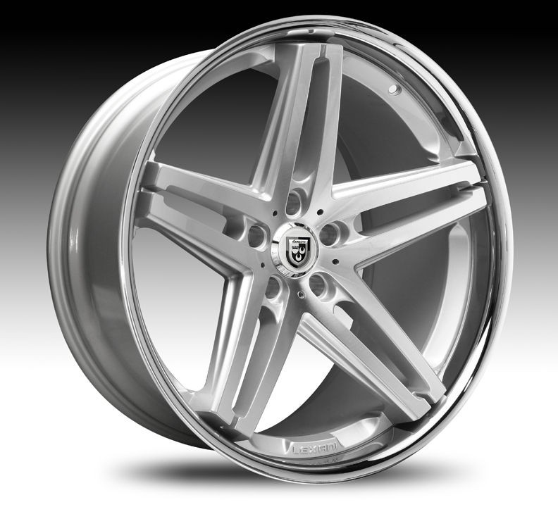 Machined Silver & Chrome Lip Wheel SET Lexani Rims Cars & Trucks