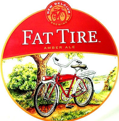 Fat Tire Beer   New Belgium Brewing  Large Round Metal Sign Bike Tin