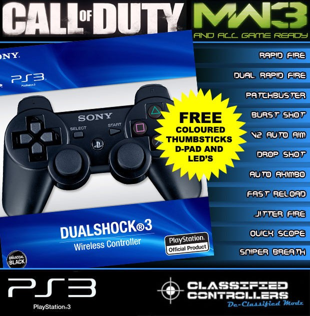 QUASAR OX 8 Mode Official Sony PS3 Rapid Fire Controller ,Modded