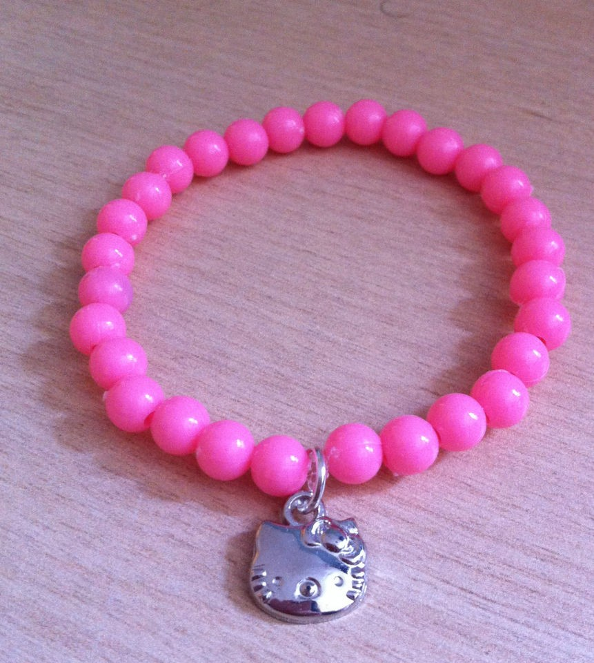 Hello Kitty Charm Bracelets with Flower Beads   Party Bag Fillers