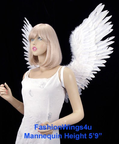 Adult Large Open Swing V shape White Feather Angel Wings Fairy Swan