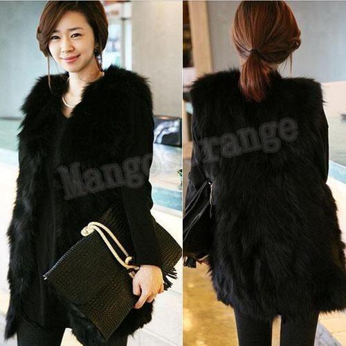 Fashion New Black Faux Fur Lining Winter Hood Long Vest Coat