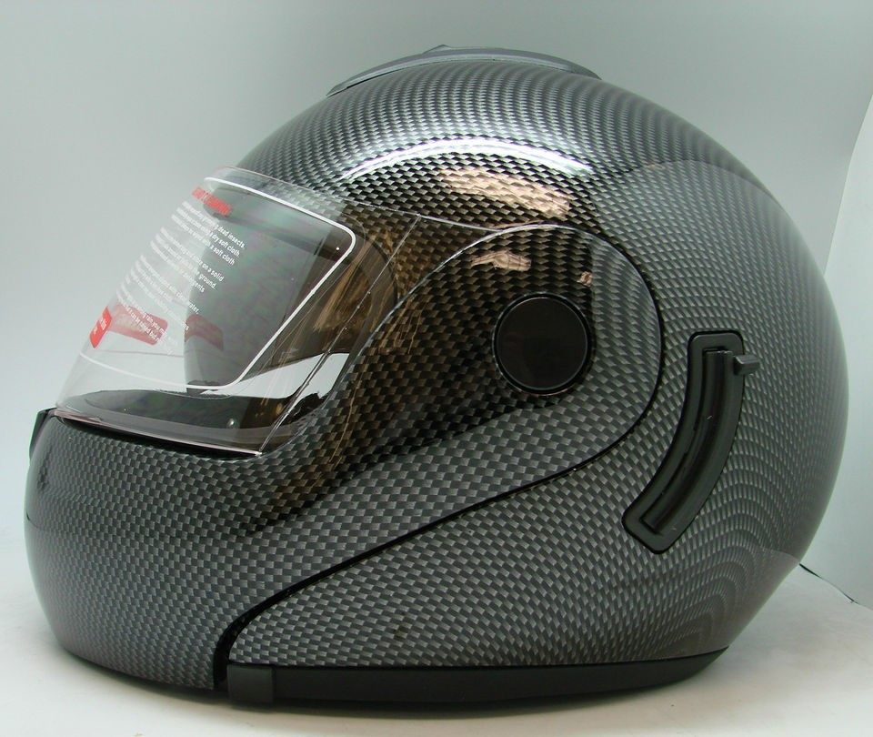 NEW CARBON FIBER LOOK FULL FACE STREET BIKE MOTORCYCLE FLIP UP HELMET
