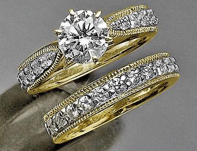 Vintage 14K Yellow Gold Diamonds Wedding Ring Set