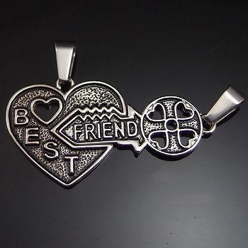 Friendship Best Friend Heart Key Jigsaw Pewter Pendant w/ 20