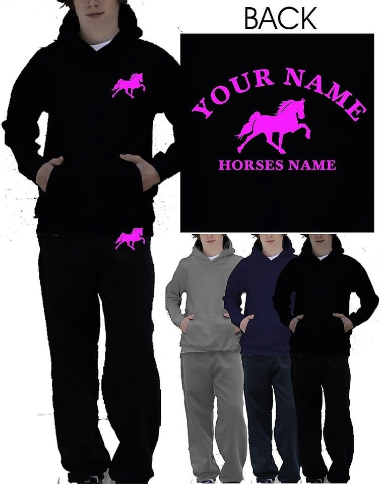 BOYS GIRLS HORSE RIDING PERSONALISED TRACKSUIT HOODIE & JOG PANTS