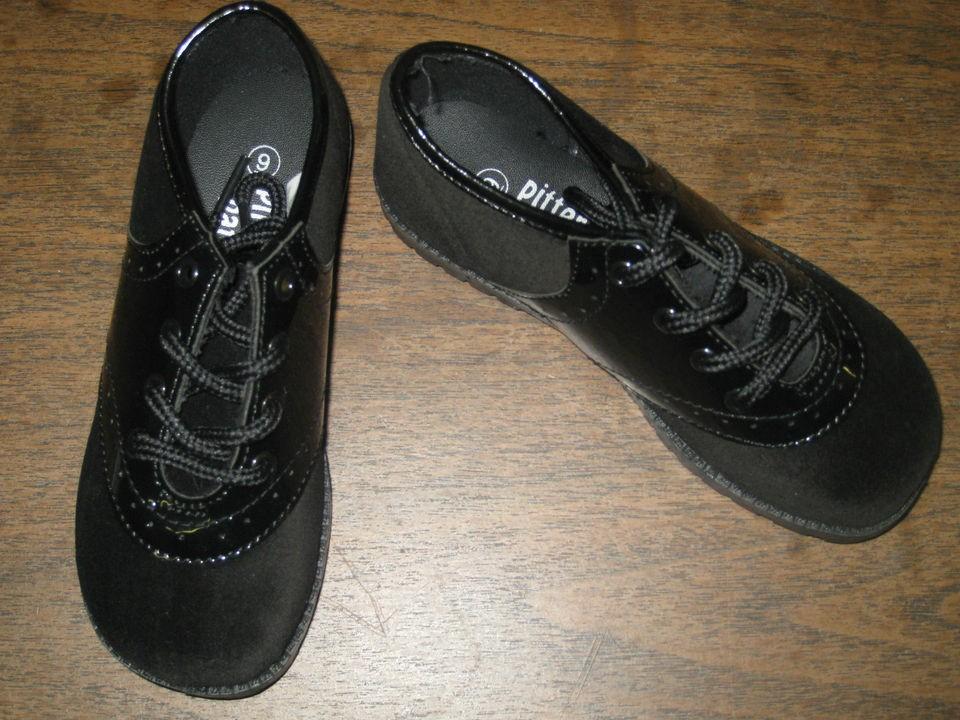 368b5dbf9e89 VELVET   PATENT SADDLE SHOE Boys or Girls Infant Toddler BLACK Sizes 1