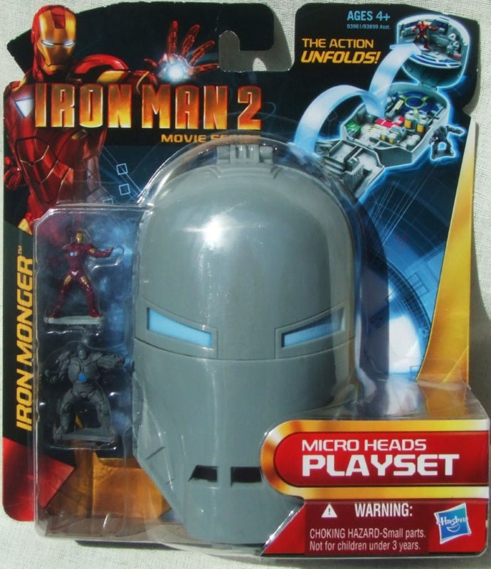 IRON MAN MICRO HEADS PLAYSET IN MONGER HELMET W/ 1 1/4 FIGURES FOR