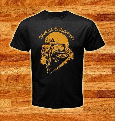 Iron Man   Black Sabbath Rock Band Logos Black T shirt tee size S XXL