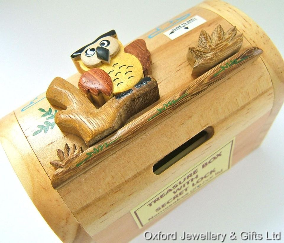 Handmade Wooden Owl Treasure Chest Money Box With Secret Lock