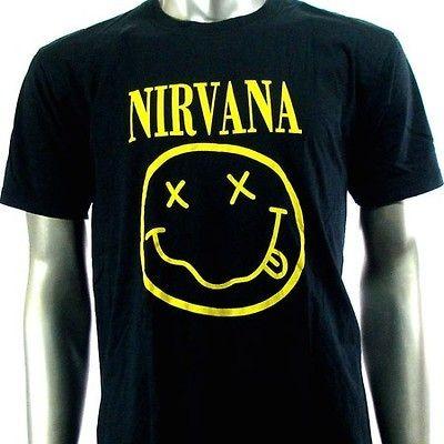 Sz L Nirvana Kurt Cobain T Shirt Biker Men Punk Music Rock S16