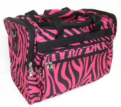 Newly listed 16 PINK ZEBRA DUFFLE BAG LUGGAGE CARRY ON OVERNIGHT M