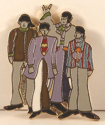 Beatles Colorful Yellow Submarine Gold Metal Pinback Button Pin