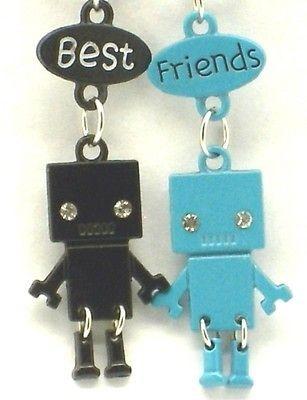 New Best Friend Robot Charm 2 Pendant 2 Necklace Blue/Black BFF