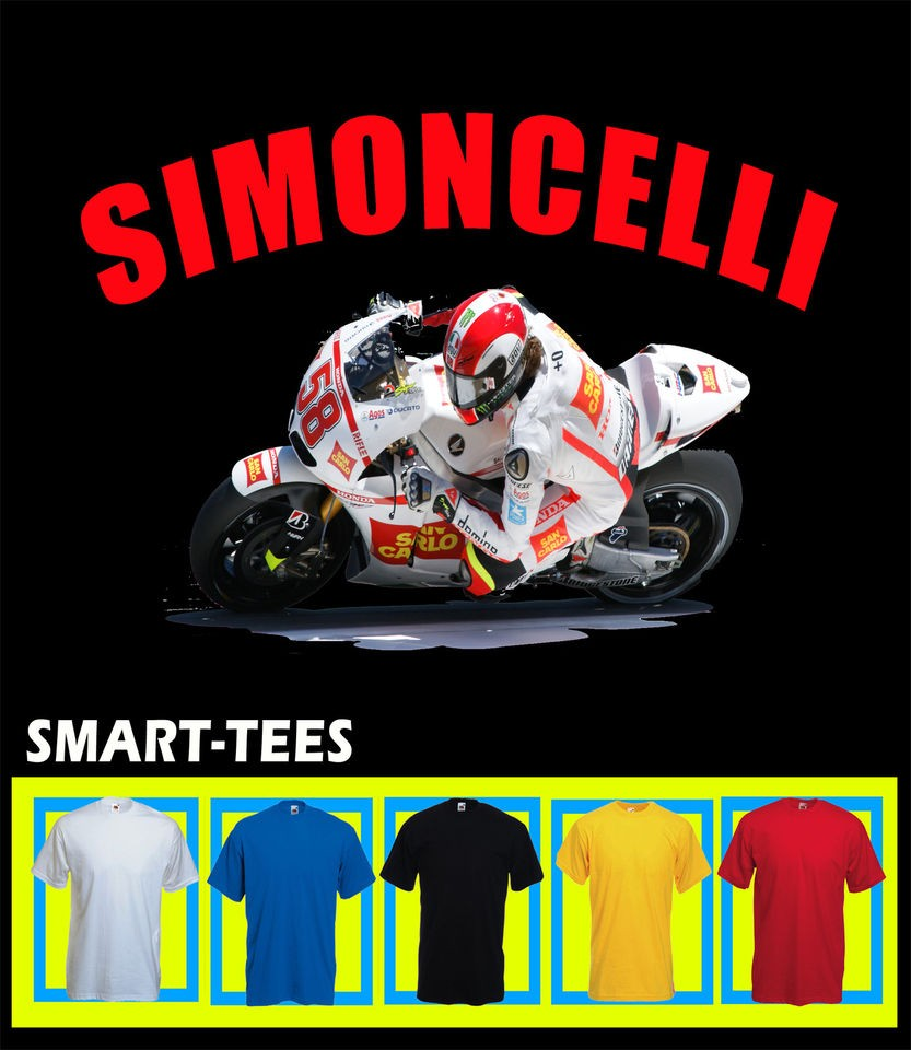 MARCO SIMONCELLI MOTO GP T SHIRT ALL SIZES COLOURS AVAILABLE