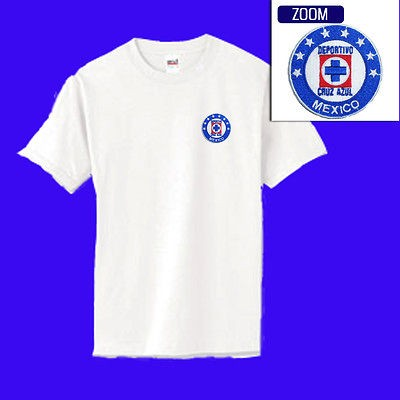 Cruz Azul Mexico Football Soccer Patch t shirt WHITE $14.99 M XL