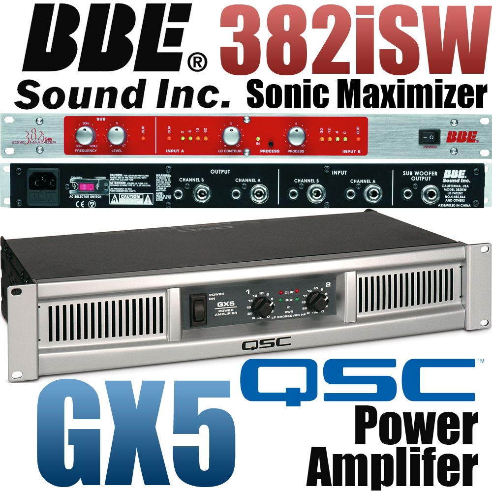 Qsc Gx5 Power Amplifier Amp Bbe 382i Sw Sonic Maximizer W Subwoofer Amplifiers