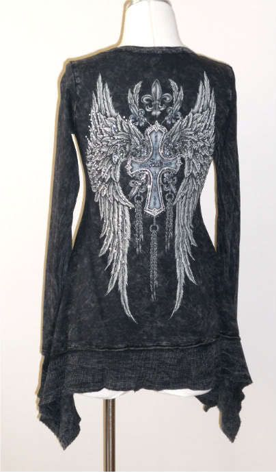 CRYSTAL FAITH CROSS ANGEL WINGS TATTOO BLACK MINERAL WASH T SHIRT