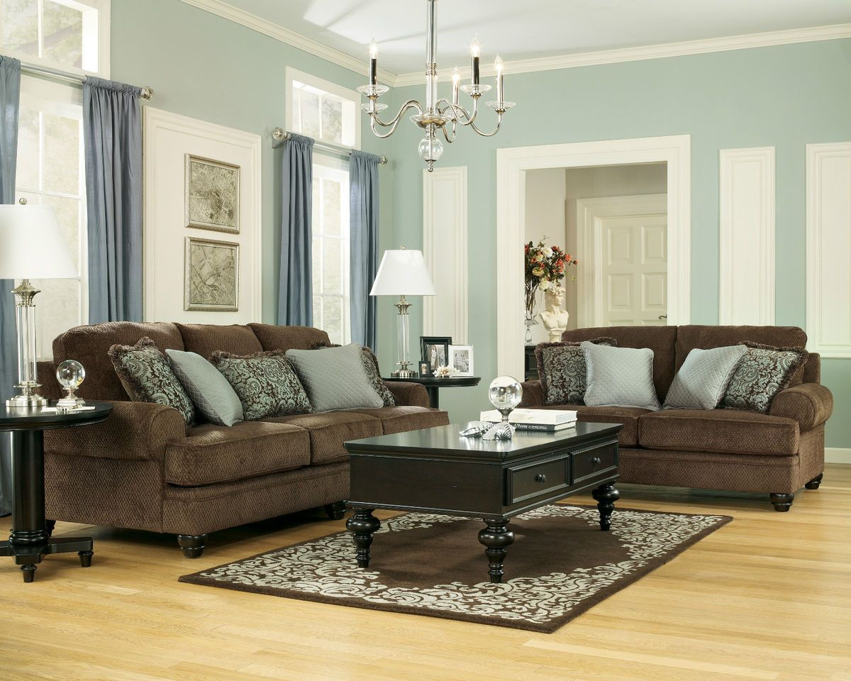 ashley furniture crawford chocolate living room set sofa lov