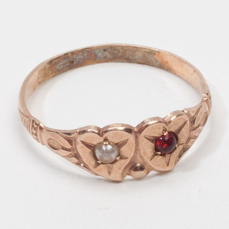 Victorian Rose Gold Pearl Garnet Baby Ring Band Fine Estate Jewelry