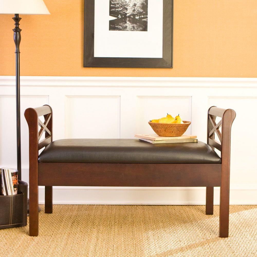 Backless Faux Leather STORAGE BENCH Espresso Wood Black Seat Foyer