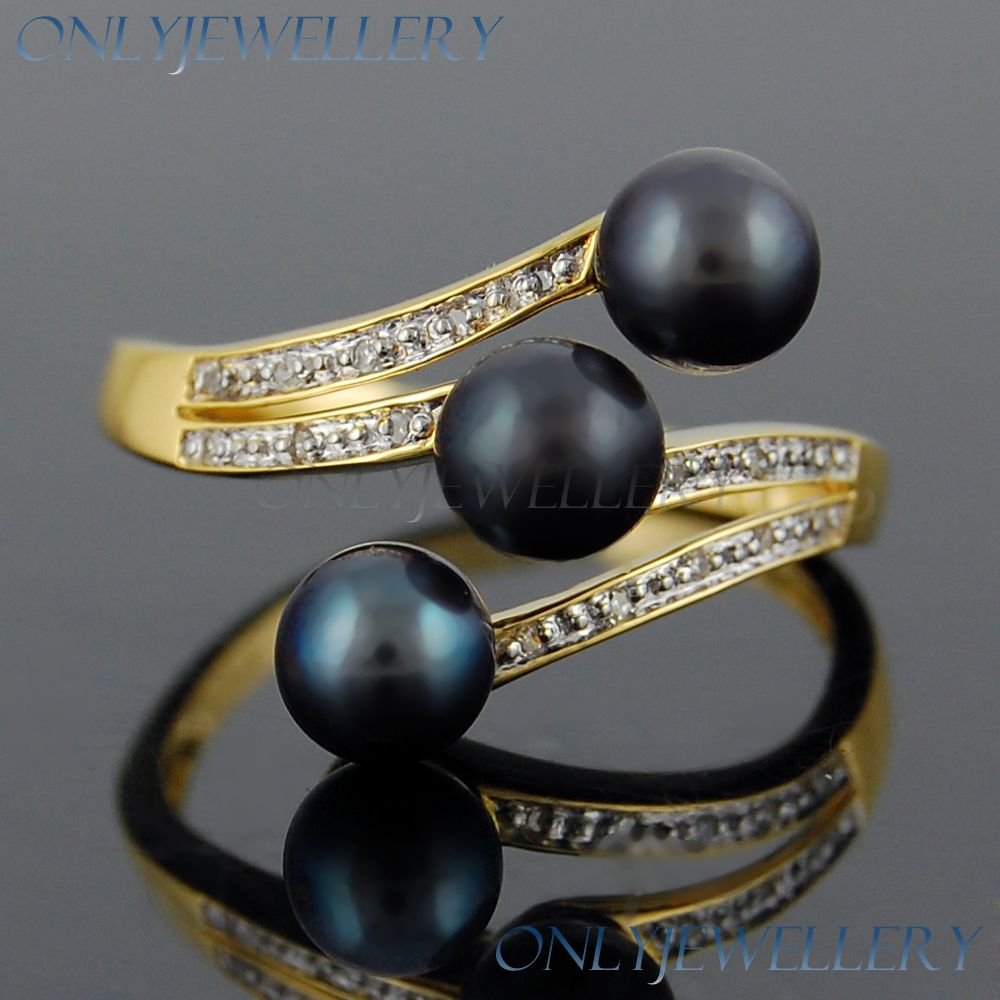 Round Diamond Blackpearl 9K 9ct Solid Yellow Gold Fancy Rings Only 065
