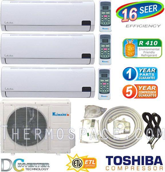 Ton Tri Zone Ductless Mini Split Air Conditioner 30000 BTU 12000