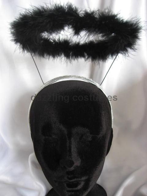 black dark angel halo feather marabou feather costume accessory prop