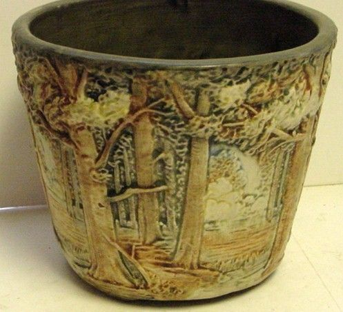BEAUTIFUL ANTIQUE WELLER ART POTTERY FOREST JARDINIERE 6 5 IN TALL 8