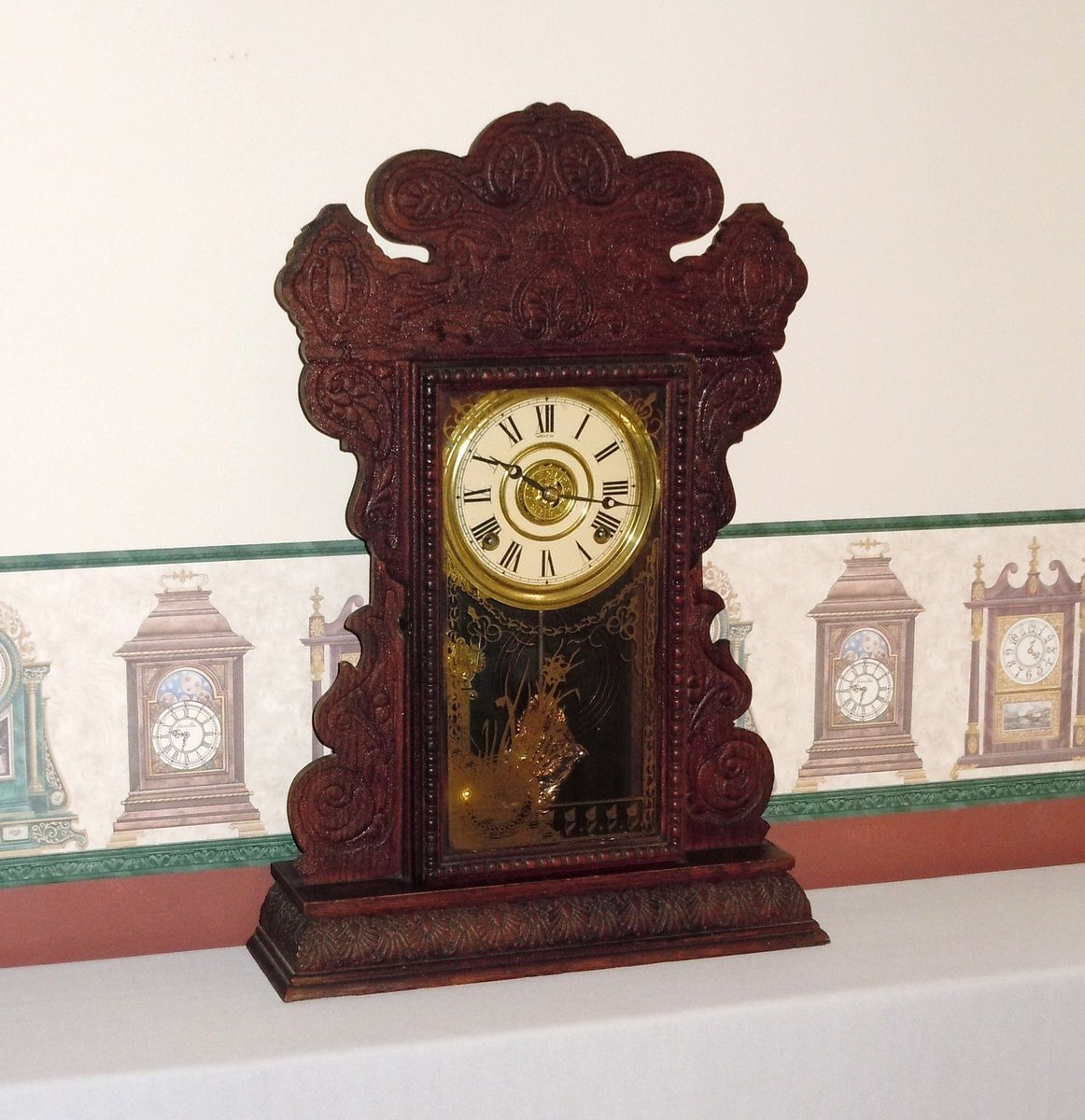 Antique E. N. WELCH Kitchen Mantel Shelf Alarm Clock & Key