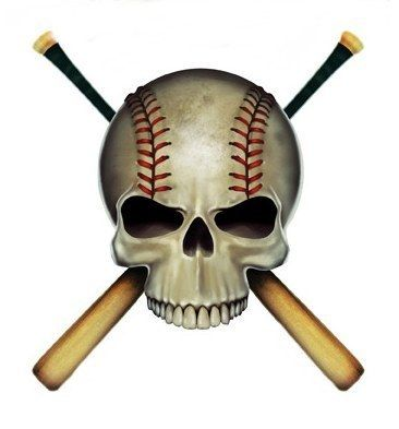 Baseball Skull Crossed Bats Cool Sticker Vinyl Car Decal Art by Ted