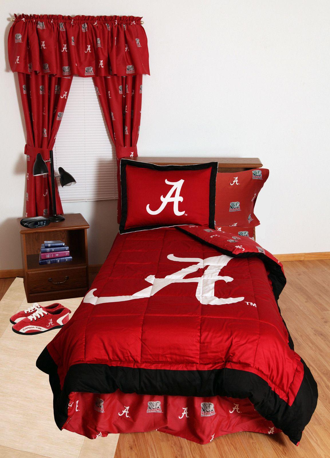 ALABAMA CRIMSON TIDE BED IN BAG & CURATIN & VALANCE   WHITE OR TEAM