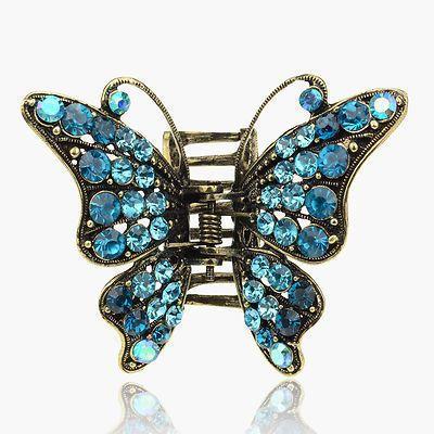 Barrette Copper Swarovski Crystal 3D Butterfly VTG Style Hair Claw