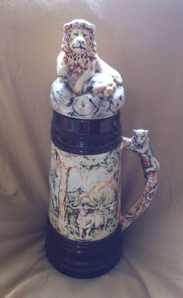 Vintage Holland Mold Ceramic 13 Beer Stein W Lid   Lions, Giraffes