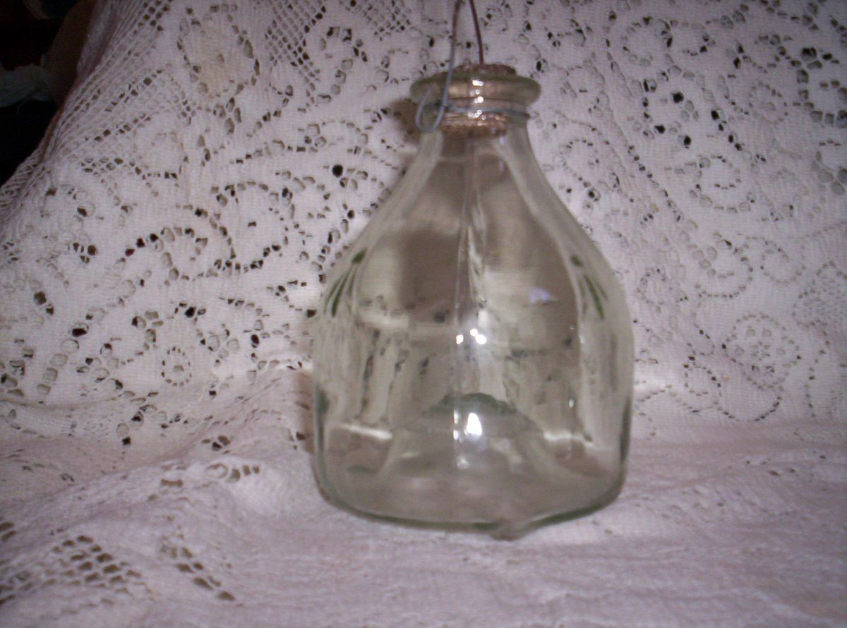 Antique Wasp Catcher Primitive Bee or Fly Trap Glass Bottle with Cork