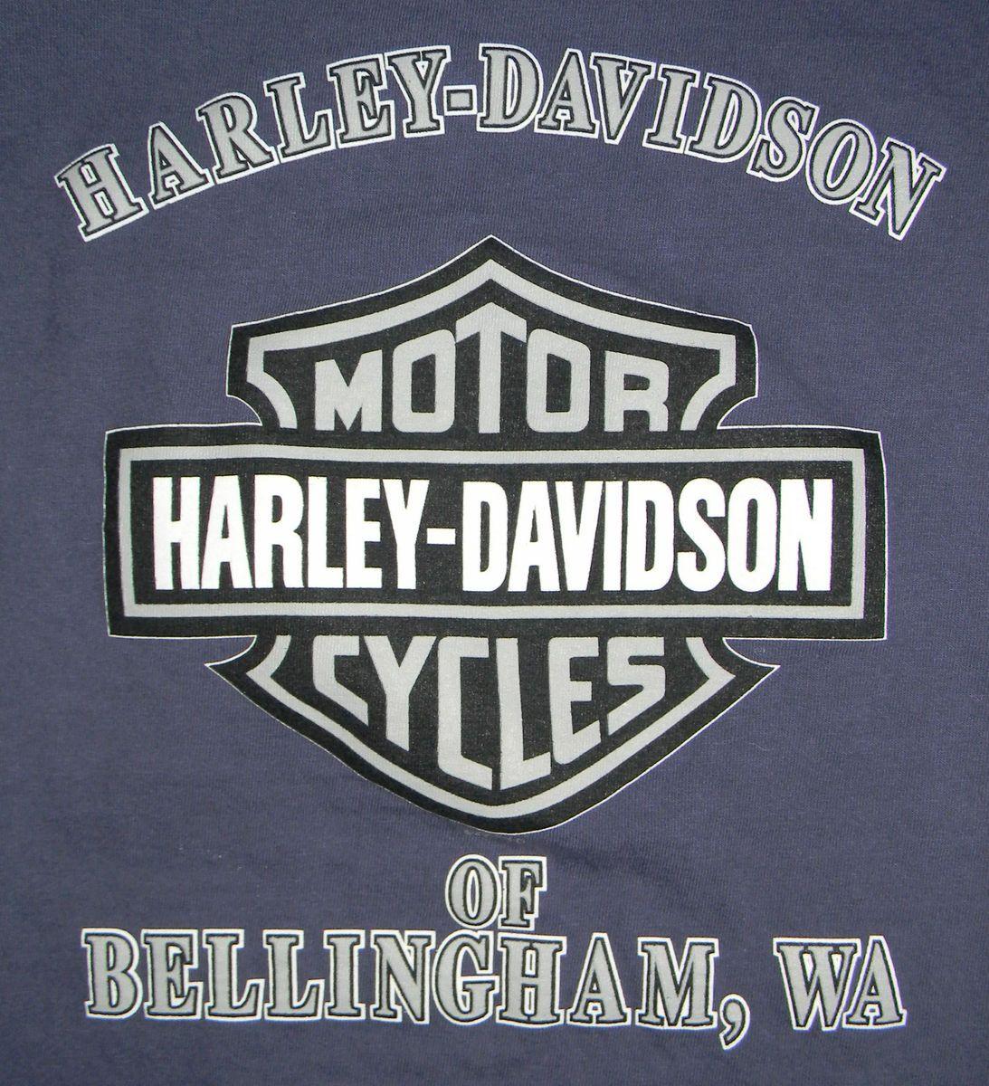 Mens Harley Davidson Bellingham, WA Long Sleeve Logo T Shirt w/ pocket