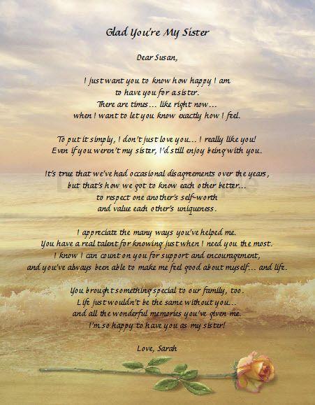 Personalized Poem for Sister Keepsake Gift for Sister