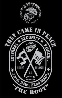 Marine Corps Beirut Lebanon 32nd Mau 24th Mau 22nd Mau USMC T Shirt XL