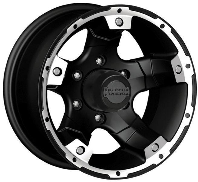 Black Rock 900 Viper 15x8 Aluminum Wheels Rims Black