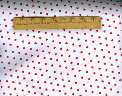 Valentines Day Heart Fabric #3 Tiny Red Hearts on White per yd SALE $